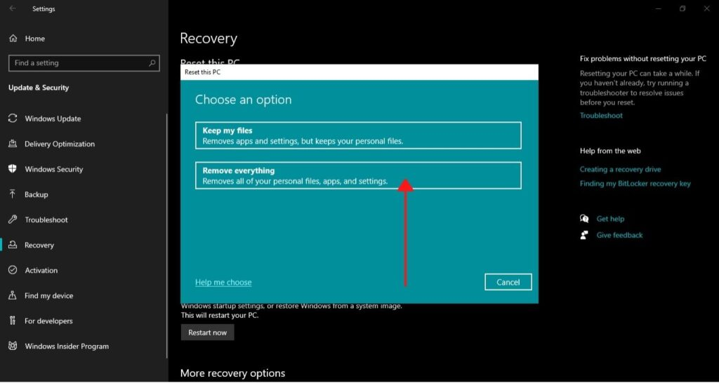 How to Factory Reset Laptop Windows 10